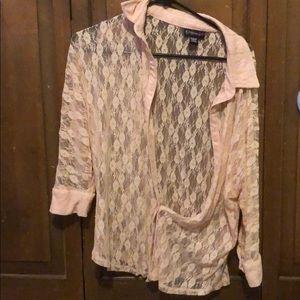 pink lace button down shirt